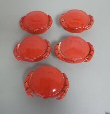 VINTAGE CZECHOSLOVAKIA RED CRAB SHAPED CRAB DISHES WITH LIDS - SET OF FIVE 5 EUC