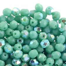 4mm Czech Faceted Round Glass Bead - Opaque Turquoise AB - 50pk