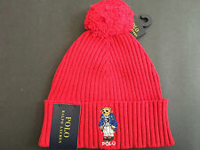 Polo Ralph Lauren Ski Bear Pom-Knit Cuffed Beanie Hat Rare NWT, TUDOR RED