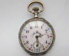 Ladies silver Pocket Watch 6J 10s Running Vintage Antique 42 mm pink flower dial