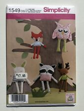 Simplicity Pattern 1549 Stuffed Animals Owl, Bunny, Raccoon, Fox and Reindeer