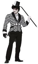 Adult Mens Harlequin Tailcoat Jester Fancy Dress Halloween Costume