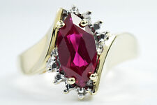 Women's 1.10 ct Ruby & Diamond H/I2 Cocktail Ring in 10k Solid Yellow Gold