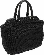 $4650 PRADA RUNWAY BRAIDED WOVEN NAPA BLACK LEATHER HANDBAG PURSE BAG PRISTINE