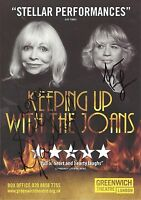 An 8 x 6 inch flyer for Keeping up Joans. Signed Katy Manning & Susan Penhaligon