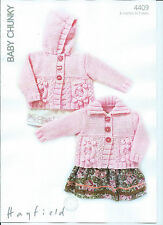 Girls Cardigans In Hayfield Baby Chunky, Knitting Pattern 4409