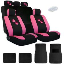 New 2 Tone Front and Rear Seat Covers with Pink Paws Logo and Mats For Hyundai