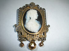 EXQUISITE MOURNING 14K GOLD ANTIQUE VICTORIAN CAMEO JET PENDANT BROOCH 24.1GR