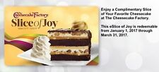 Four Cheesecake Factory Slice of Joy Free Cheesecake