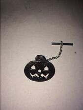PUMPKIN DR21  Tie Pin With Chain Made From  English  Pewter