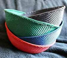 4 Solid  Handmade African Zulu Telephone Wire Bowls LG - Red Blue Green Black