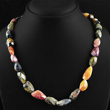 375.00 CTS NATURAL UNTREATED RICH WATERMELON TOURMALINE FACETED BEADS NECKLACE