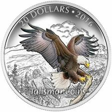 Canada 2016 Majestic Iconic Animals Baronial Bald Eagle $20 Silver Color Proof