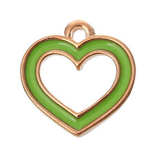 "6 PCs Charm Pendants Heart Rose Gold Enamel Green 14mmx13mm( 4/8""x4/8"") LC4904"