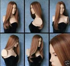 LMJF103 charming long straight brown mixed natural hair  wig  wigs for women