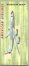 1961 American Airlines Air Routes Map  / Great Graphics !!