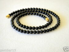 "Genuine Natural 4mm Black Onyx necklace Round Beads 17"" 4 mm Black Onyx Beads"