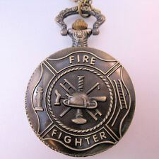 Fire Fighter Pocket Watch Fireman Fire Dept. with Chain Vintage Style