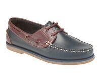 NEW MENS SMART BLUE/BROWN LEATHER CASUAL BOAT SHOES