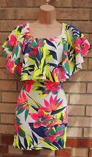 BOOHOO NEON MULTI COLOR FLORAL CAPE RUFFLE BODYCON BANDAGE PARTY TEA DRESS 10 S