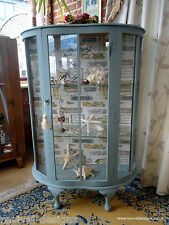 Shabby Chic Superb Vintage Glass Display Cabinet Lockable Duck Egg Blue