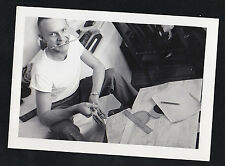 Old Vintage Antique Photograph Man With Pencil in Mouth and Ruler on Desk 1950