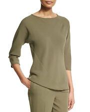 SHAMASK NEW 3/4 Silk Spiral Bias Top in Army $695. Size 2/10-14