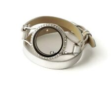 Silver CZ Floating Charm Locket 30mm Stainless Steel Wrap Strap Leather Bracelet