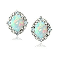 925 Silver Diamond Accent Created White Opal & Blue Topaz Oval Stud Earrings