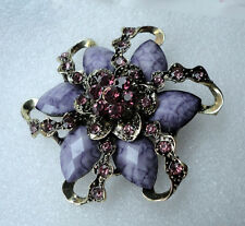 ZPs2 Vintage Victorian Style Brooch Lilac Leaf Beautiful Floral Flower Crystals