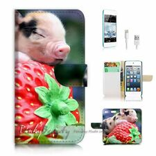 iPod Touch 6 iTouch 6 Flip Wallet Case Cover! P0521 Strawberry Baby Pig