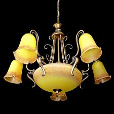 Antique French Degué Style Art Deco/Nouveau Yellow Large Art-Glass Chandelier