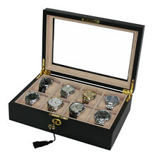 8 PC BLACK WOOD OVERSIZED XL WATCH DISPLAY CASE STORAGE COLLECTOR ORGANIZER BOX