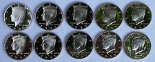 1990 - 1999 PROOF Kennedy Half Coin Collection 10 Coins from US Mint Proof Set