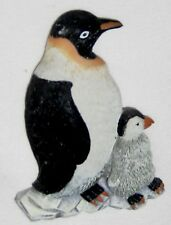 "Black White 3 1/4"" Penguin Mother and Baby Looking Left Magnet Figurine"