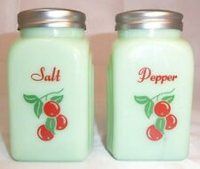 "Lg. Jadite Cherry Salt & Pepper Shakers 3.75""~Use or display~Country/Retro Decor"