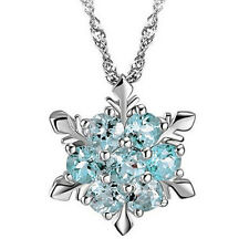 1pc Natural Gem Silver Plated Zircon Snowflake Necklace Pendant Christmas Gift