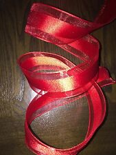 5m red wire edge Ribbon Satin & Mesh Floral bows 1.5 In width decorations