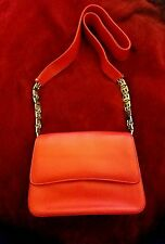 Authentic Bally Leather Shoulder Bag Red Leather