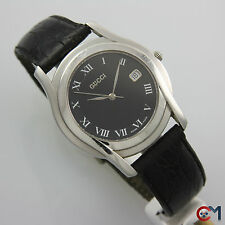 35mm GUCCI 5500M Mens Sapphire Crystal Black Dial w/ Date Swiss Watch