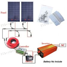 2*100Watts Complete Kit: 200W Solar Panel W/ 1KW Pure Sine Inverter 12V Bat