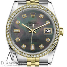 Women`s Rolex 26mm Datejust 2 Tone Black MOP Mother Of Pearl with 8+2 Diamond
