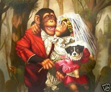 """Art Repro oil painting:""""Monkey's wedding at canvas"""" 24x36 Inch"""