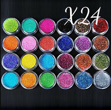 24PZ Nail Art Glitter Polvere Set Acrilico Gel UV Tips Decorazione DIY
