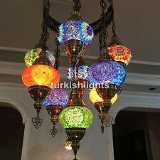 9 BALL  SULTAN TURKISH MOSAIC  CHANDELIER