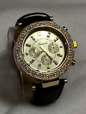 Geneva Rhinestone Gold Bezel MK Chrono Style Wrist Watch Faux Brown Snake Band