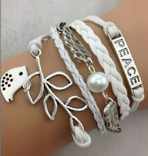 NEW Hot Retro Infinity Peace Wing Birds Leather Charm Bracelet plated Silver B32