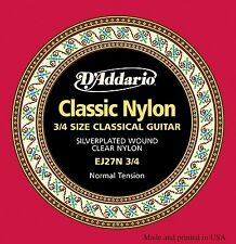 5 Pack! D'Addario EJ27N 3/4 Classic Norm Tension Nylon Classical Guitar Strings