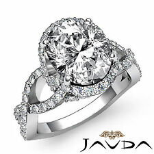 Genuine Oval Diamond Twist Shank Pave Engagement Ring GIA F SI1 Platinum 2.1 ct