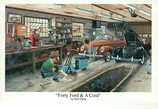 """ Forty Ford & A Cord "" by Ken Zylla, Car, Auto Garage - Art Print, NOT Postcard"